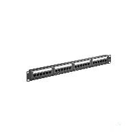 Goobay 93866 CAT 6 19-Zoll (48,3 cm) Patch Panel, 24 Port, Schwarz - U